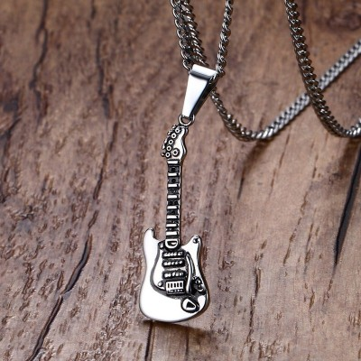 Mens Necklace Metal Stainless Steel Electric Acoustic Guitar Pendant Necklace Rock Roll Hiphop Style Fashion Jewelry