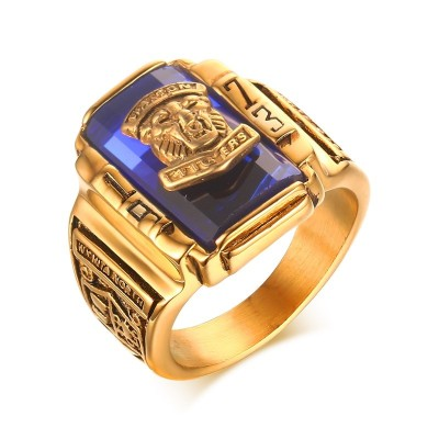 Mens Finger Rings Stainless Steel Blue Rhinestone 1973 Walton Tigers Gold-color School Class Anniversary Jewelry Anel Ane