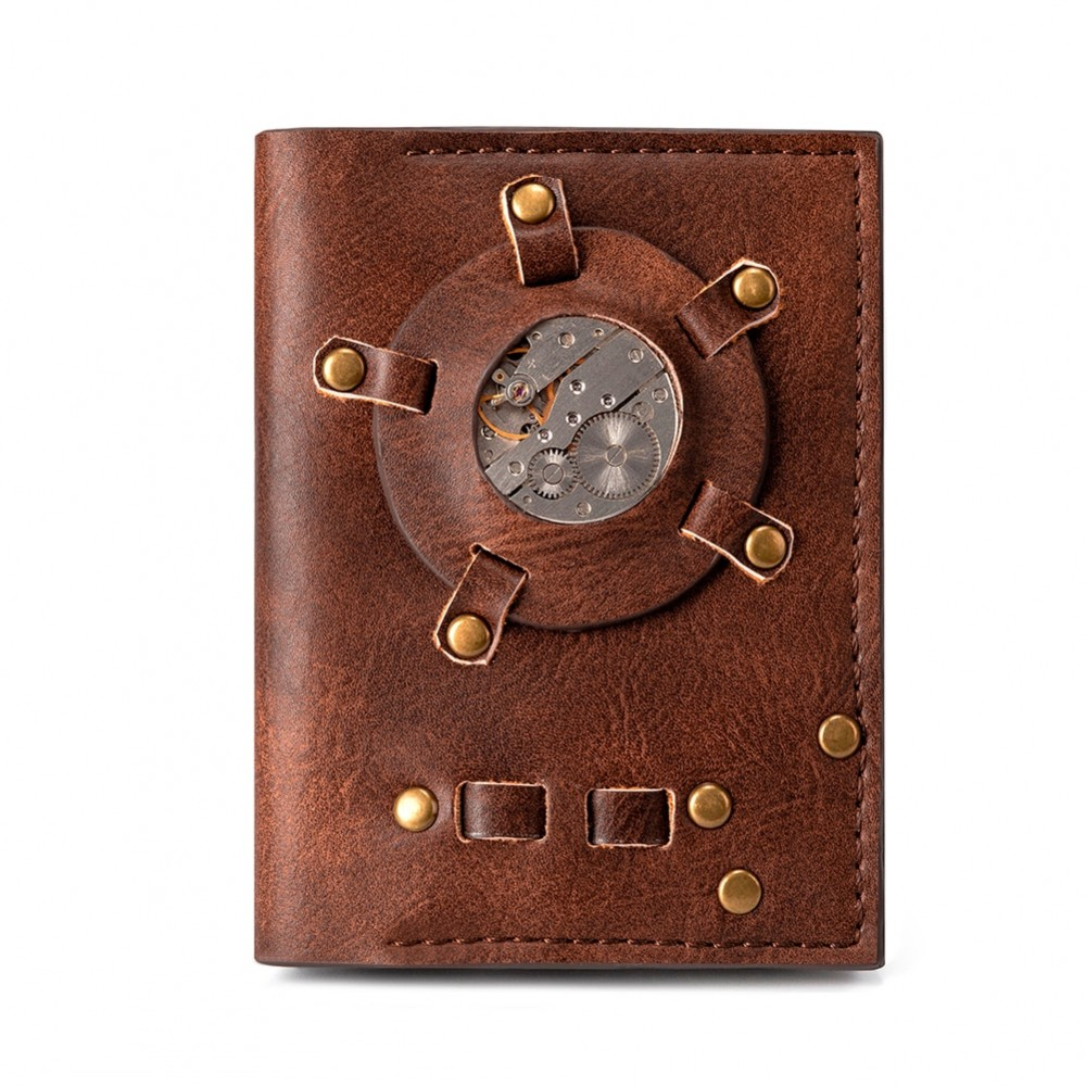 Retro Brown Personality Watch core Wallet Europe Style Fashion Punk Rock Purse Horizontal Short Mens Womens Wallet