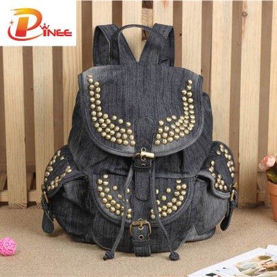 American apparel denim backpack Women Bag School Backpacks for Teenager Girls Casual Travel Bags black blue denim backpack