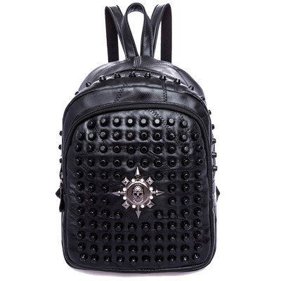 Rivets Backpack women Genuine Leather sheepskin Punk Style skull Rivet Backpacks Black bagpack travel school girls backpacks
