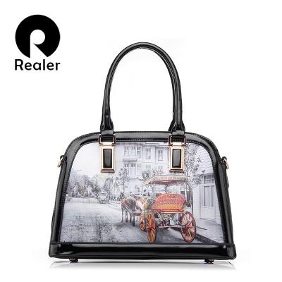 REALER brand handbag 3D pattern design women patent leather tote bag shoulder bags female elegant shell bag