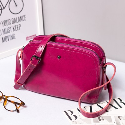2019 autumn and winter new leather handbags shoulder bag small bag retro oil wax leather Messenger bag leather shell woman