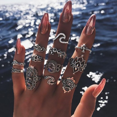 11 Pcs/set Bohemian Beach Retro Elephant Hollow Lotus Wave Gems Geometry Crystal Ring Set