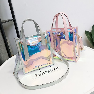 2018 New Brand Womens Handbags Laser Korean Style Bags Transparent Shoulder Bags Jelly Candy Strap Clear Women Bag