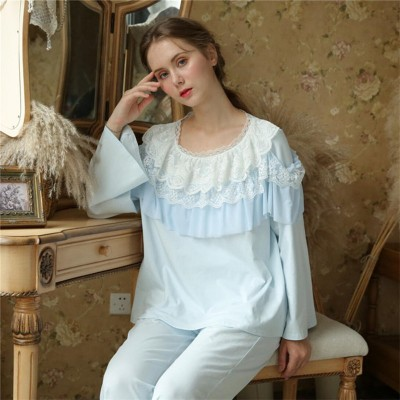 Vintage Pajama Set Autumn Sleepwear Women Robe Gown Set Light Blue Ruffle Draped Long Sleeve Sleep Wear Top Cotton Pant