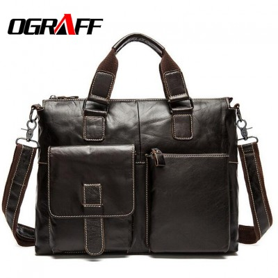 OGRAFF 2019 Men messenger bags genuine leather bag men briefcase designer handbags high quality famous brand business men bag