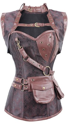 New Sexy Women Steampunk Corset Punk Brown Black Faux Leather Floral Steel Boned Bustiers Lace Up Plus Size Waist Trainer