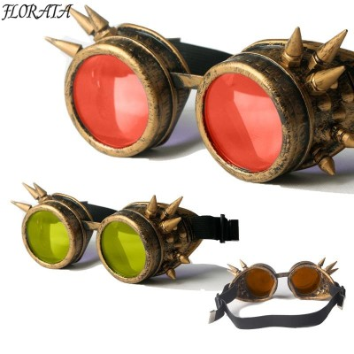 Bronze frame NEW style Steampunk Goggles Unisex Gothic Vintage Style  Punk Gothic Glasses Cosplay 7colour lens