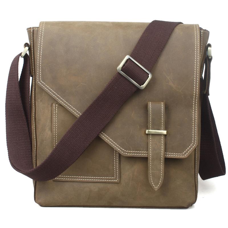 ... Crazy Horse Leather Messenger Bags Men Shoulder Bag Vintage Brown Leather  Satchel Bags Small Crossbody Bag Handbags. Image 1 3408c8e713