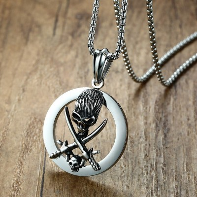 Mens Punk Skull Necklace Pendant Male Stainless Steel Vintage All Hallows Day Party Jewelry 24 Chain