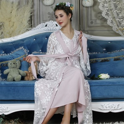 2019 Women Sexy Lace Silk Robe Gown Set Sleep Dress Bathrobe Two Piece 6 color Robe Bridesmaid Wedding Sleepwear Homewear