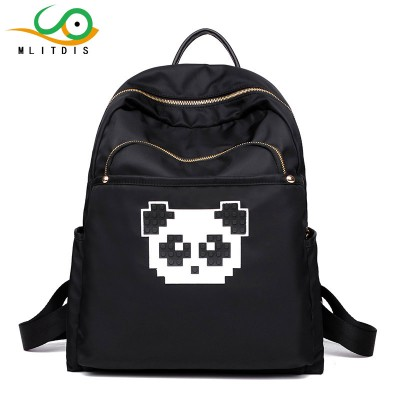 MLIT Black Printing Backpack Women Bags Panda Backpack For School Bag Nylon Waterproof Taschen Women Rucksack Mochila Lona Mujer