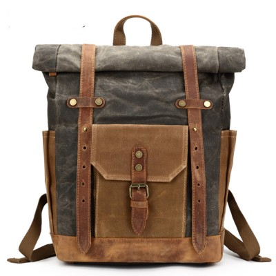 Travel Mens Backpack Camera Bag Retro Genuine Leather Canvas Bag Portable Waterproof Backpack Shoulder Wax