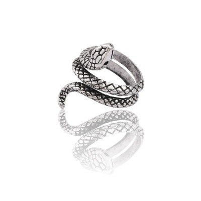 Vintage Punk Animal Ring Men Silver Snake Rings For Women Hip Hop Adjustable Finger Ring Cool Man Male Biker Party Jewelry Anel