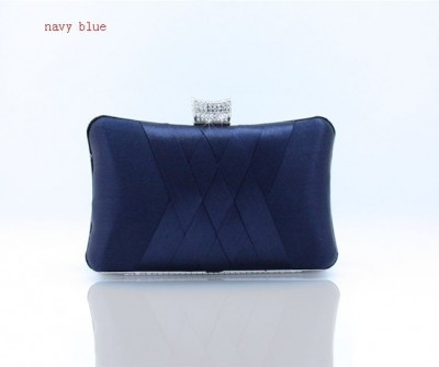 Fashion Navy Blue Ladies' Satin Rhinestone Clutch handbag Evening Bag Banquet Party Purse Makeup Bag