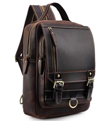 Mens Dark Brown Genuine Leather Backpack Vintage Small Daypack College Bag Fits 9.7 Inch Ipad Air
