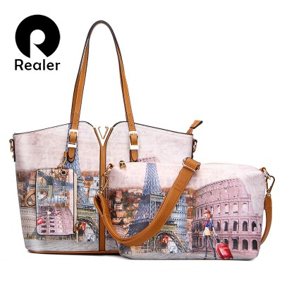 Realer Brand 3-Sets Printed Handbag Women Large Shoulder Bag High Quality PU Leather Tote Bag+Small Crossbody Bag+Coin Purse
