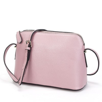 2019 Spring Ladies Genuine Real Leather Shell Messenger Bags Women Black Pink Grey First Layer Cowhide Shoulder Crossbody Bag
