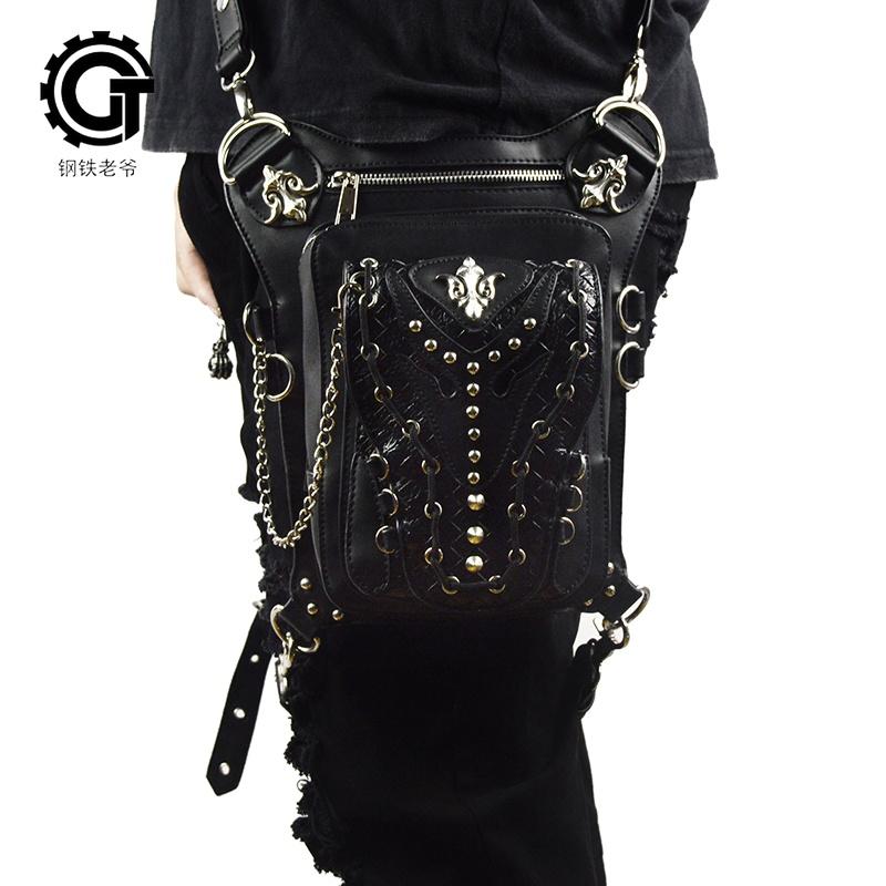 SteelMaster Steampunk Messenger Bag Waist Belt Bag Women Men Gothic Steampunk Style Fashion Fanny Pack Shoulder Leg Bag Holster Bag