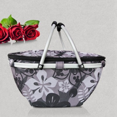 Large Aluminum Frame Picnic Bag Refrigerator Lunch Case Cool Insulated Picnic Basket Camping Tablewear Market Basket Picnic