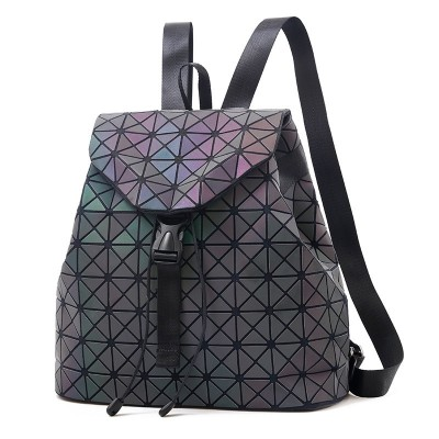 Women Backpack Luminous Geometric Plaid Sequin Female Backpacks For Teenage Girls Bag pack Drawstring Bag Holographic Backpack