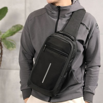 Men Sling Bag Chest Messenger Bag USB Charging Big Capacity Soft Canvas Shoulder Bags Men Pack Crossbody Vertical Square Bag