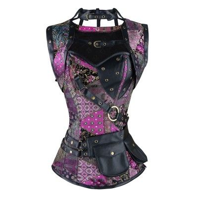 Purple Plus Size Leather Gothic Clothing Sexy Women Vintage Retro Steel Boned High Neck Steampunk Corset With Jacket And Pouch