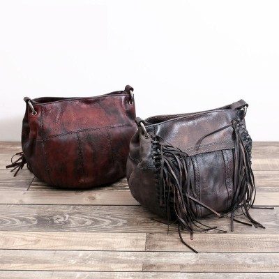 Top Sale Hobos Single Solid Women Soft Genuine Leather Party Messenger Tassel Boho Hippie Vintage Feminine Small Shoulder Bags