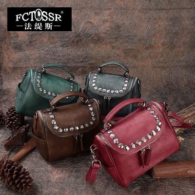2019 Vintage Handmade Messenger Bag Genuine Leather Shoulder Bag Cowhide Bucket Handbag