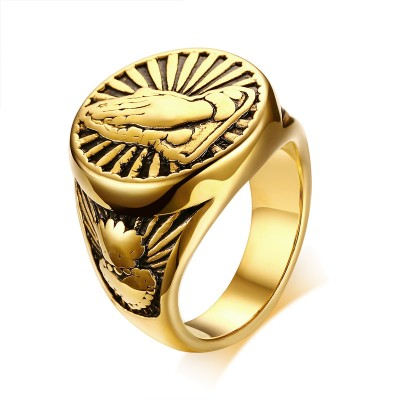 Vintage Mens Religious Praying Hands Signet Ring in Gold Tone Stainless Steel Jewellery Male Ring for Men Jewelry Anel Aneis