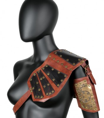 Men Medieval Costume Armors Cosplay Accessory Vintage Gothic Warrior Knight Shoulder PU Leather Harness Body Chest Harness Belt