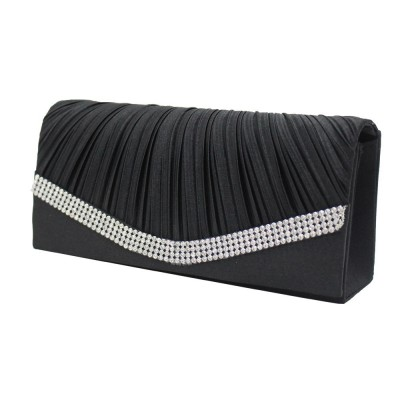 Women Satin Rhinestone Evening Clutch Bag Ladies Day Clutches Purses Chain Handbags Bridal Wedding Party