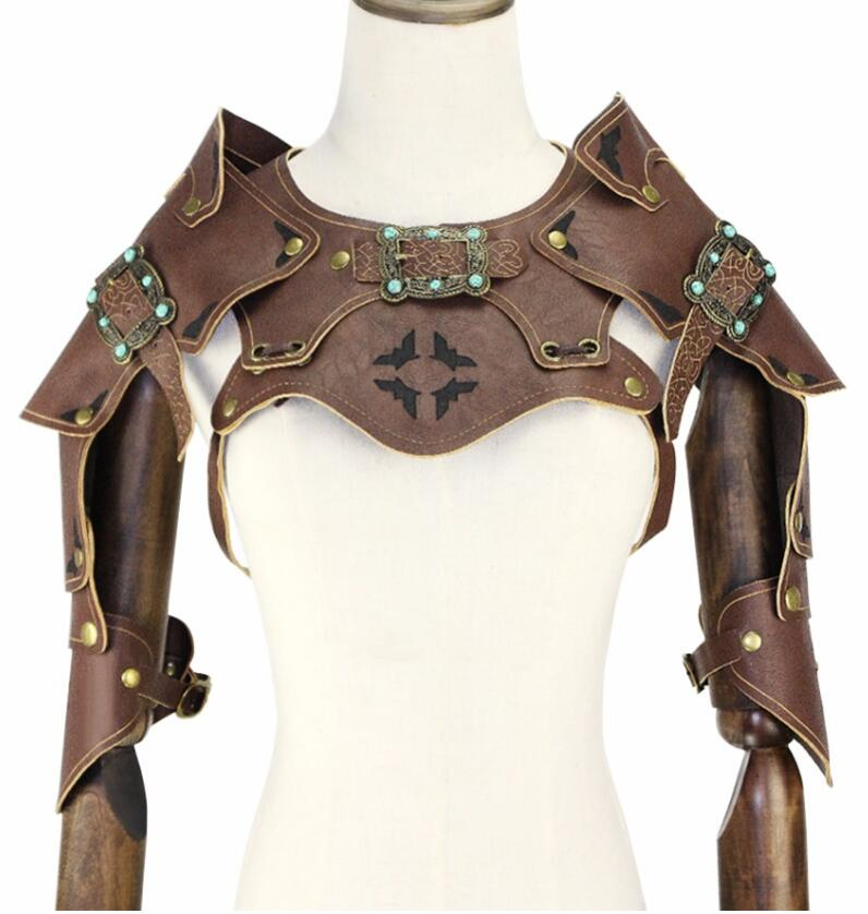Punk Cosplay Steampunk PU Leather Gothic Armor Vintage COS Party Performance Props For Men And Women Halloween