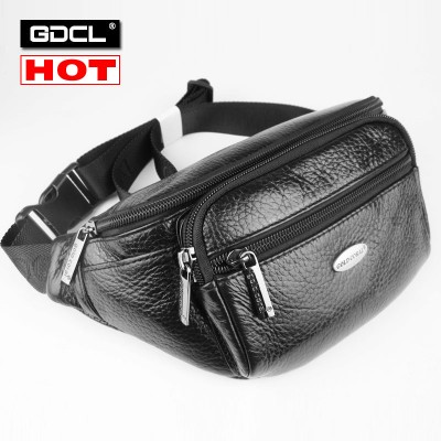 Brand Logo ! 100% Genuine Leather Men Waist Pack Belt Bag Cowhide Mens Chest Pack High Quality Shoulder Messenger Bags For Man