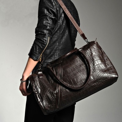 Hot Vintage Crocodile Pattern Duffle Bags Men's Weekend Travel Bag Designer Brand High Quality Large Overnight Shoulder Bag 2019