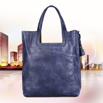 2019 New Soft Leather None Vintage Handbag Handmade Solid Women Totes Genuine Real Cowhide Shoulder Bag Big Laptop Bags