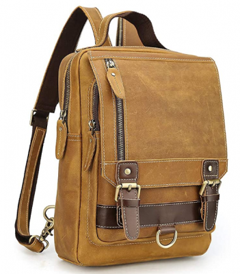 Mens Brown Genuine Leather Backpack Vintage Small Daypack College Bag Fits 9.7 Inch Ipad Air
