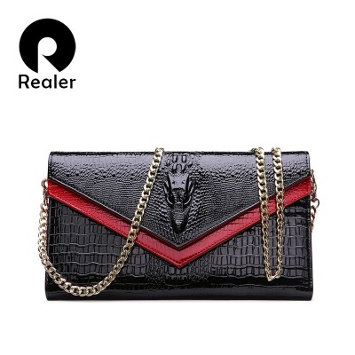 REALER Brand Genuine Leather Bags Women Crocodile Pattern Leather Shoulder Bag Evening Clutch Wallet Purse Chain Messenger Bag