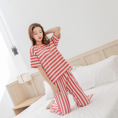 2019 SUMMER modal two piece set women T shirt+pants 2 pieces set home suits loose Tracksuits women ensemble femme stripe outfits