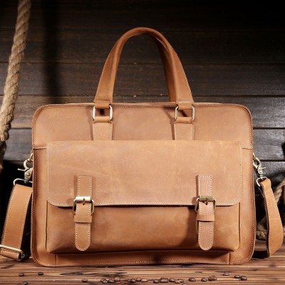 High Quality Men Crazy Horse Genuine Leather Briefcase 15 Inch Laptop Messenger Bag Multi-functional Handmade Tote Bag 1089