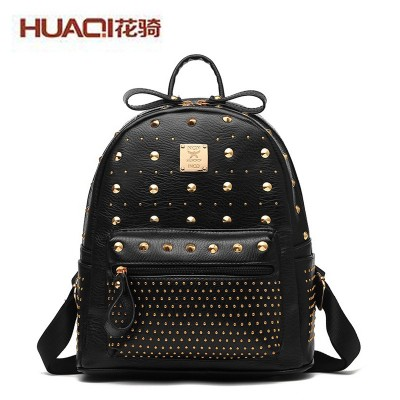 2017 New Womens PU Leather Mini Backpack Punk Backpack Ladies Casual Travel BackPack School Bags