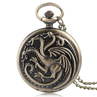 Retro Bronze Game of Thrones Theme Quartz Pocket Watch Family Crests House Targaryen Drogan Design Fob Watches Necklace Chain