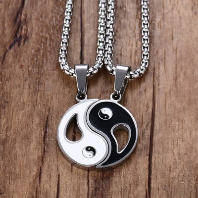 2 PCS Mens Two Tone Amulet Yin Yang BA GUA Trigrams Pendant Necklace Stainless Steel Women Couples Male Jewelry Colar 60 Inch