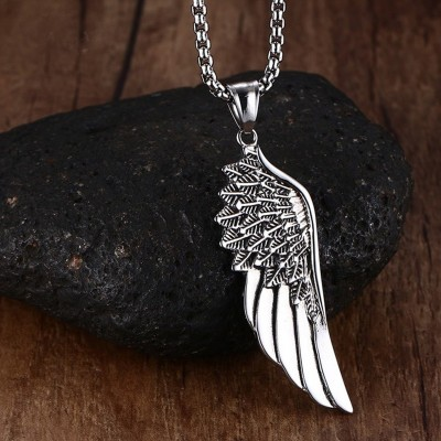 Men Choker Stainless Steel Vintage Gothic Feather Angel Wing Pendants Necklace Silver Tone Kettingen Kolye Jewelry 24