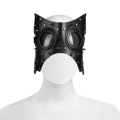Original New Unisex Black PU Leather Halloween Role Playing Game Punk Rock Gothic Mask Carnival Party Makeup Anime Cosplay Prop