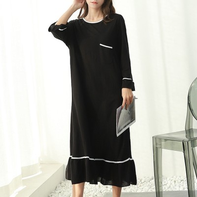 2019 spring and summer modal plus size maxi dress women lotus leaf sleeve nightdress loose long dresses home wear robe femme