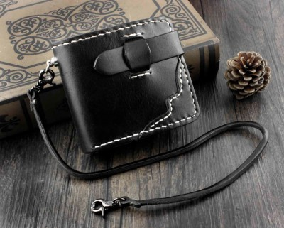 High Quality Mens Bifold Snap Black Biker Leather Wallet Purse With Chain