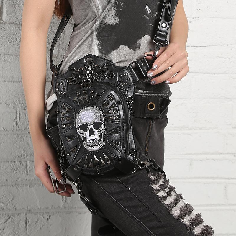 SteelMaster Steampunk Messenger Bag Skull Waist Belt Bag Women Men Gothic Steampunk Style Fashion Fanny Pack Shoulder Leg Bag Holster Bag