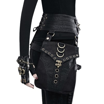 Women Men Unisex Vintage Steampunk Steam Punk Retro Rock Gothic Outdoor Sports Shoulder Waist Bags Packs Motorcycle Bag Two Bags